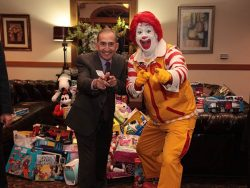 President Fred Weston with Ronald McDonald